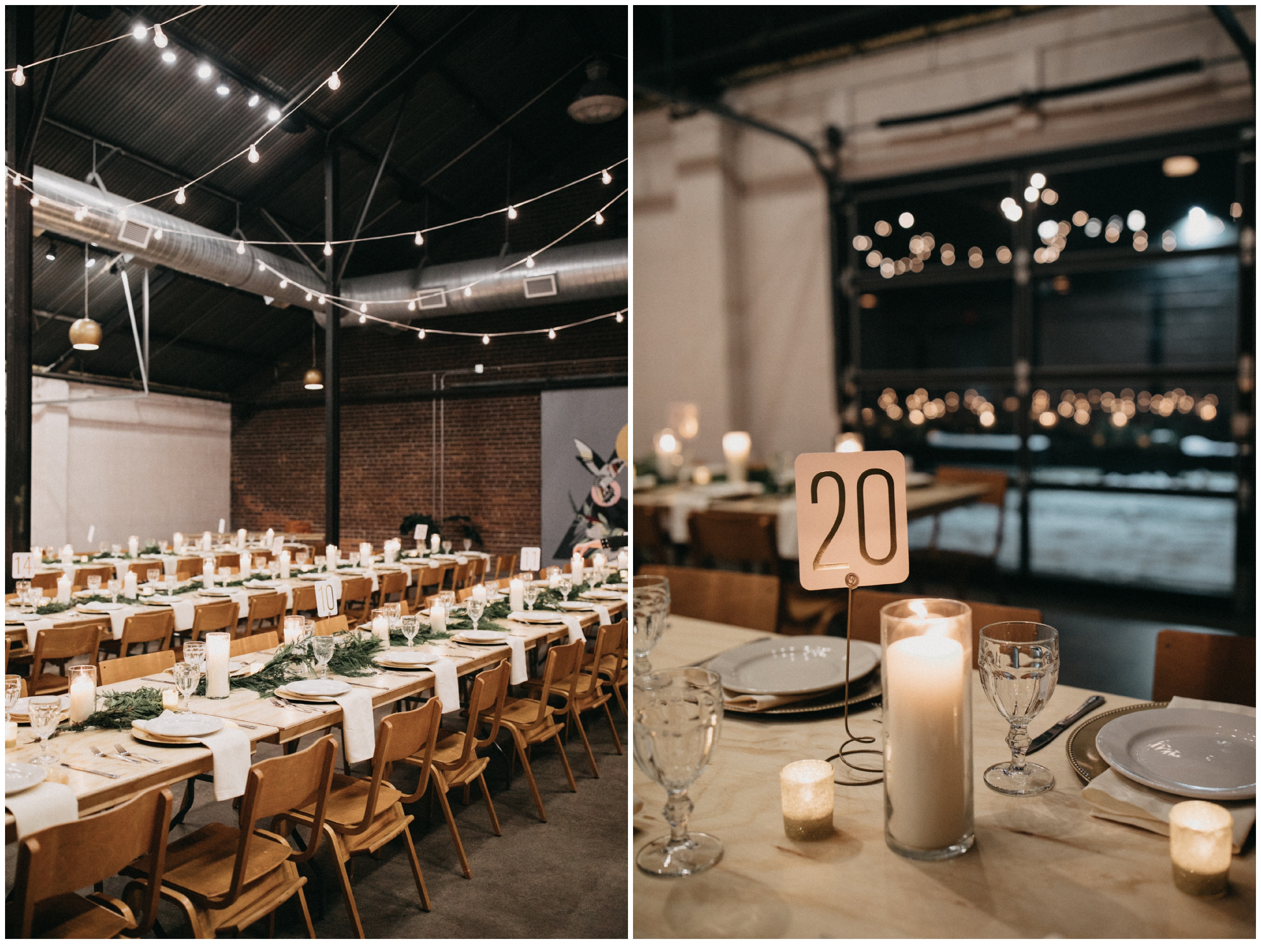 Industrial chic winter wedding reception at Paikka