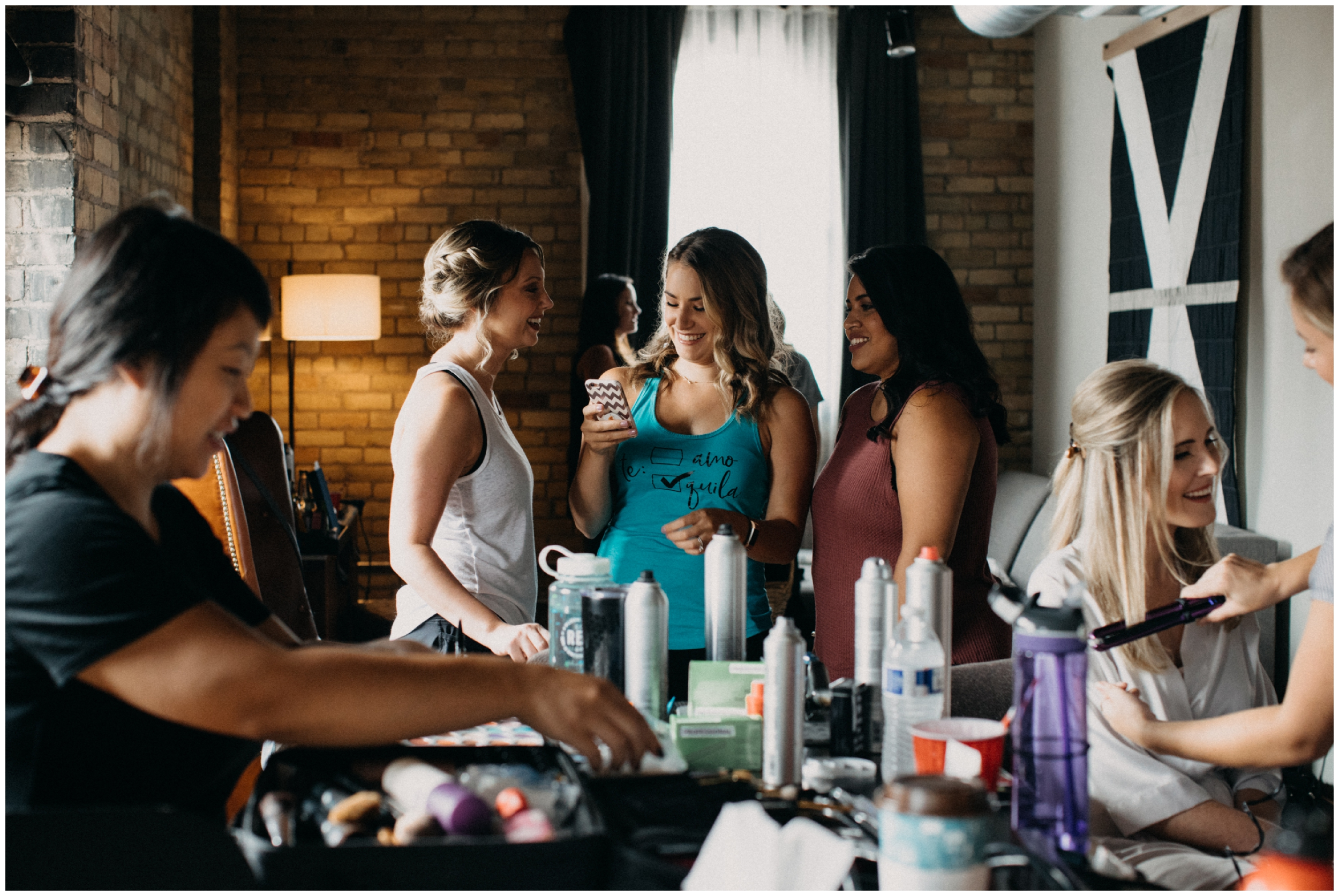 Bridal party getting ready at the Hewing Hotel in Minneapolis