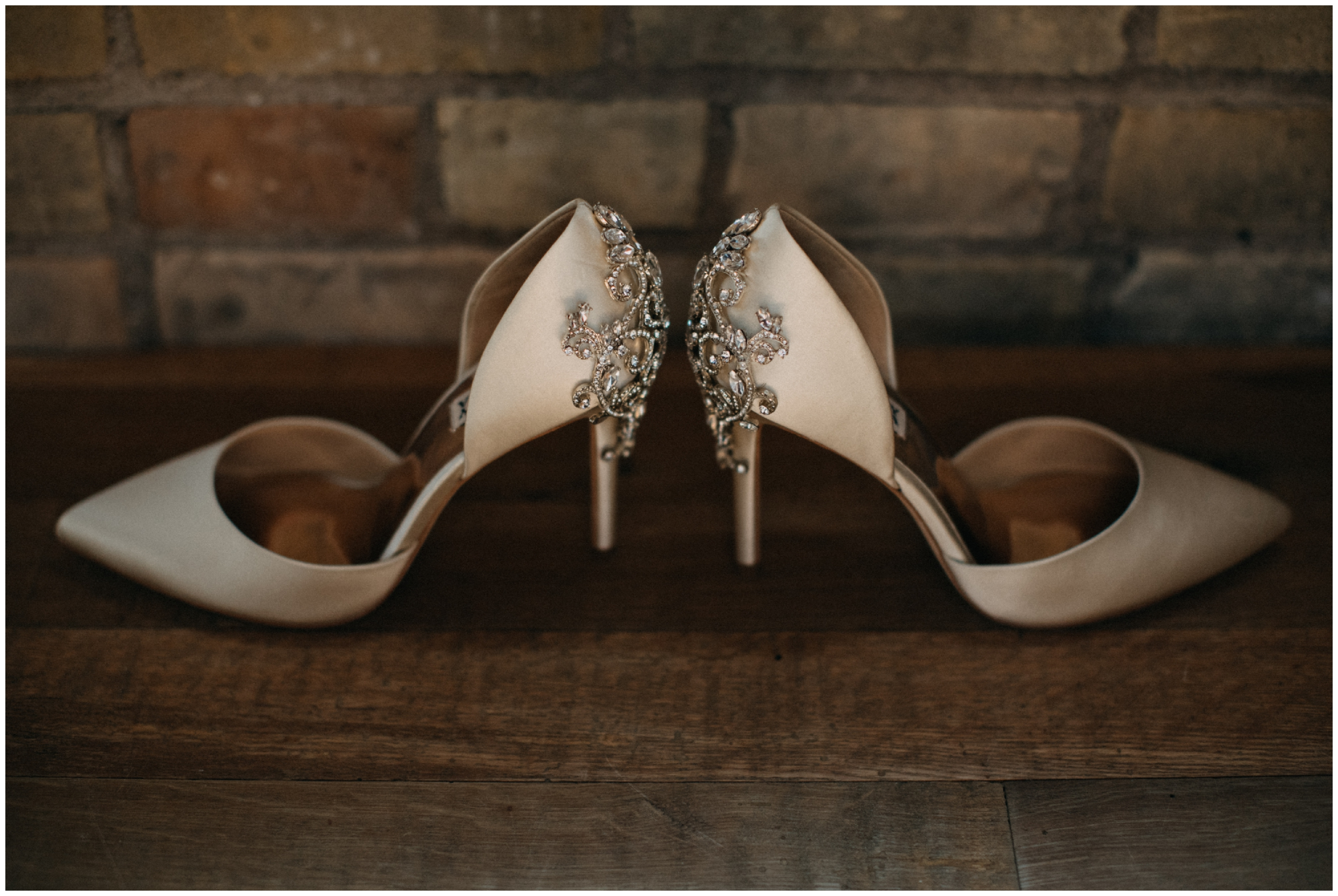 Badgley Mischka wedding shoes at the Hewing Hotel