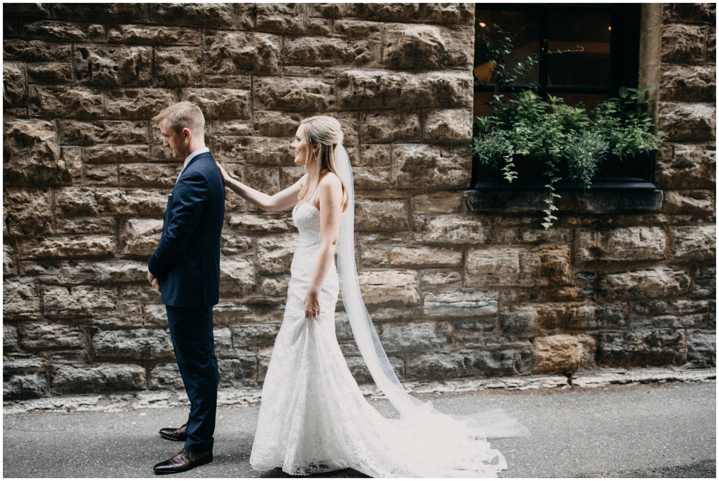 Minneapolis north loop alleyway first look on wedding day