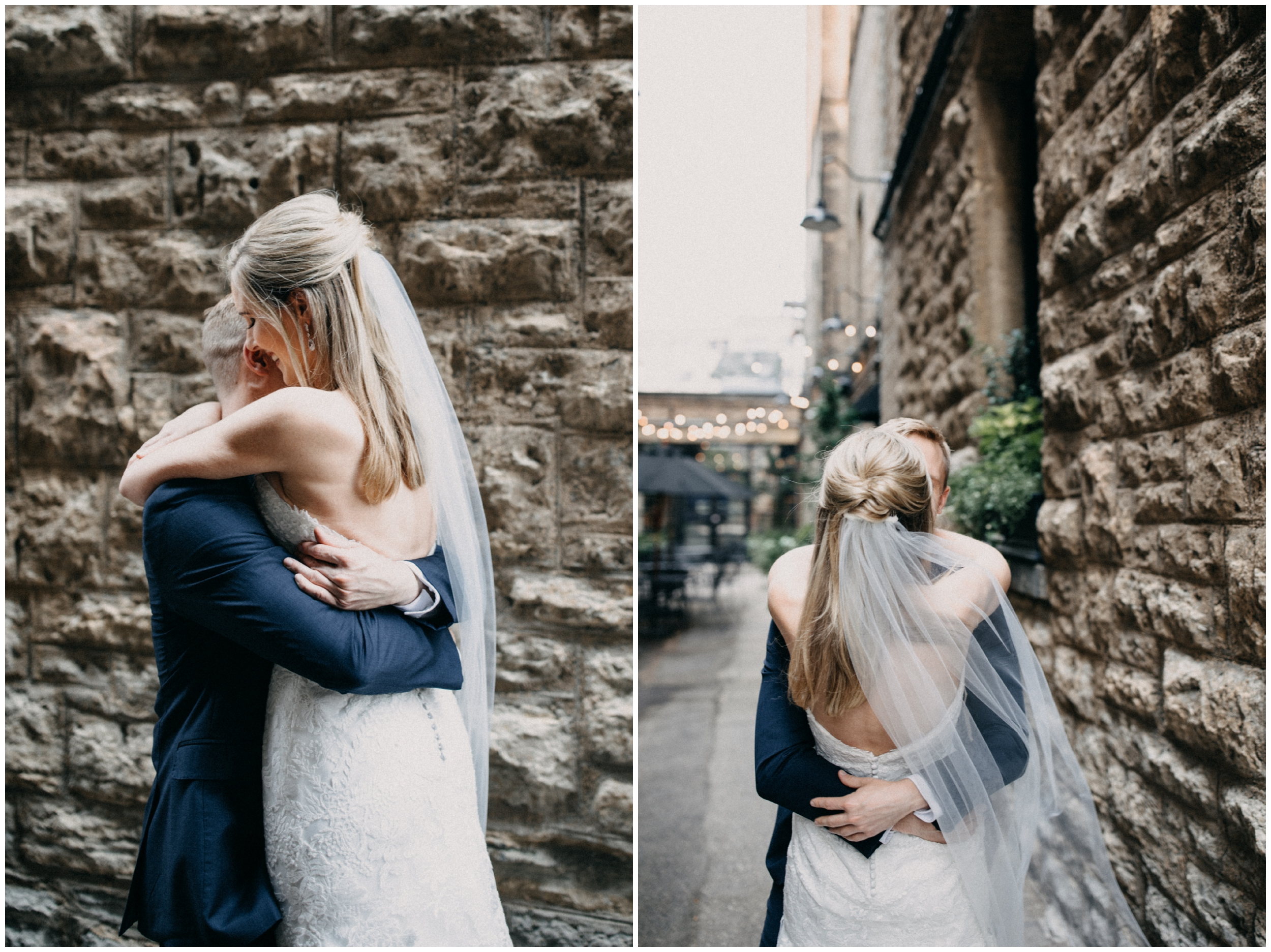 Wedding day first look at the Hewing Hotel in Minneapolis Minnesota