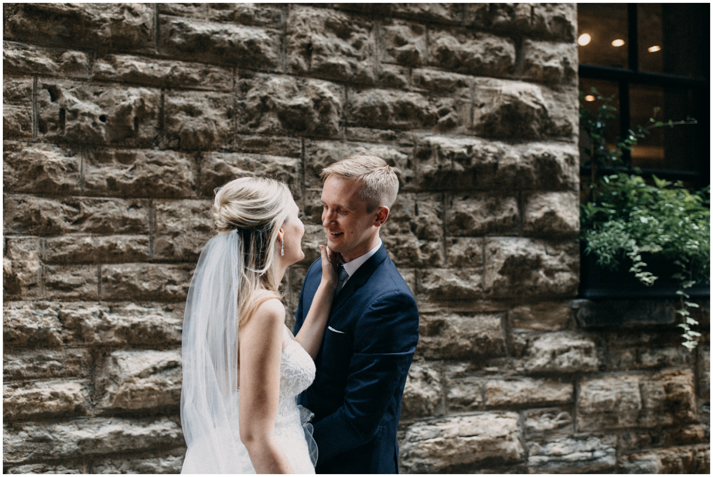 Intimate alleyway first look with bride and groom in Minneapolis
