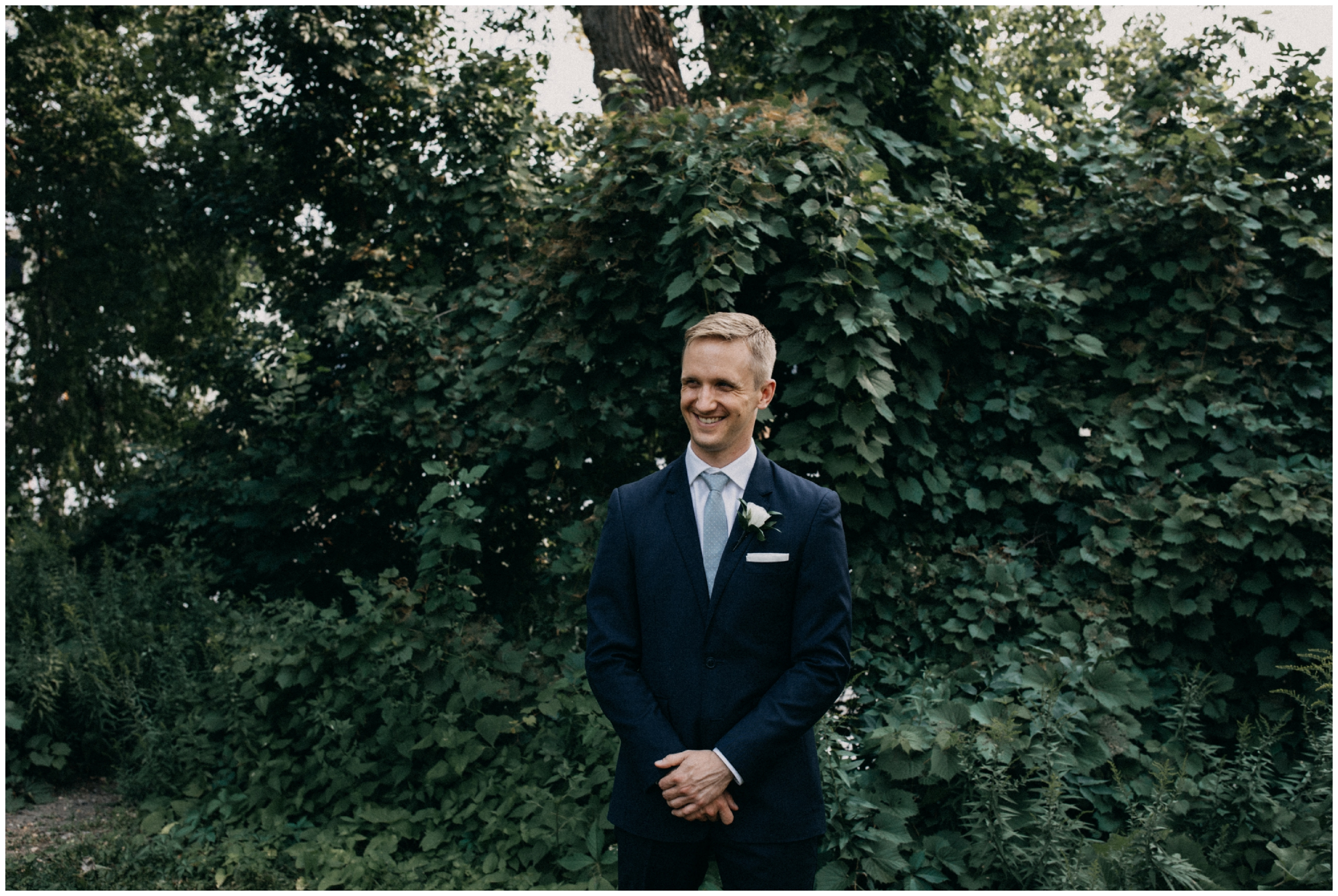 Portrait of groom on wedding day at the Nicollet Island Pavilion
