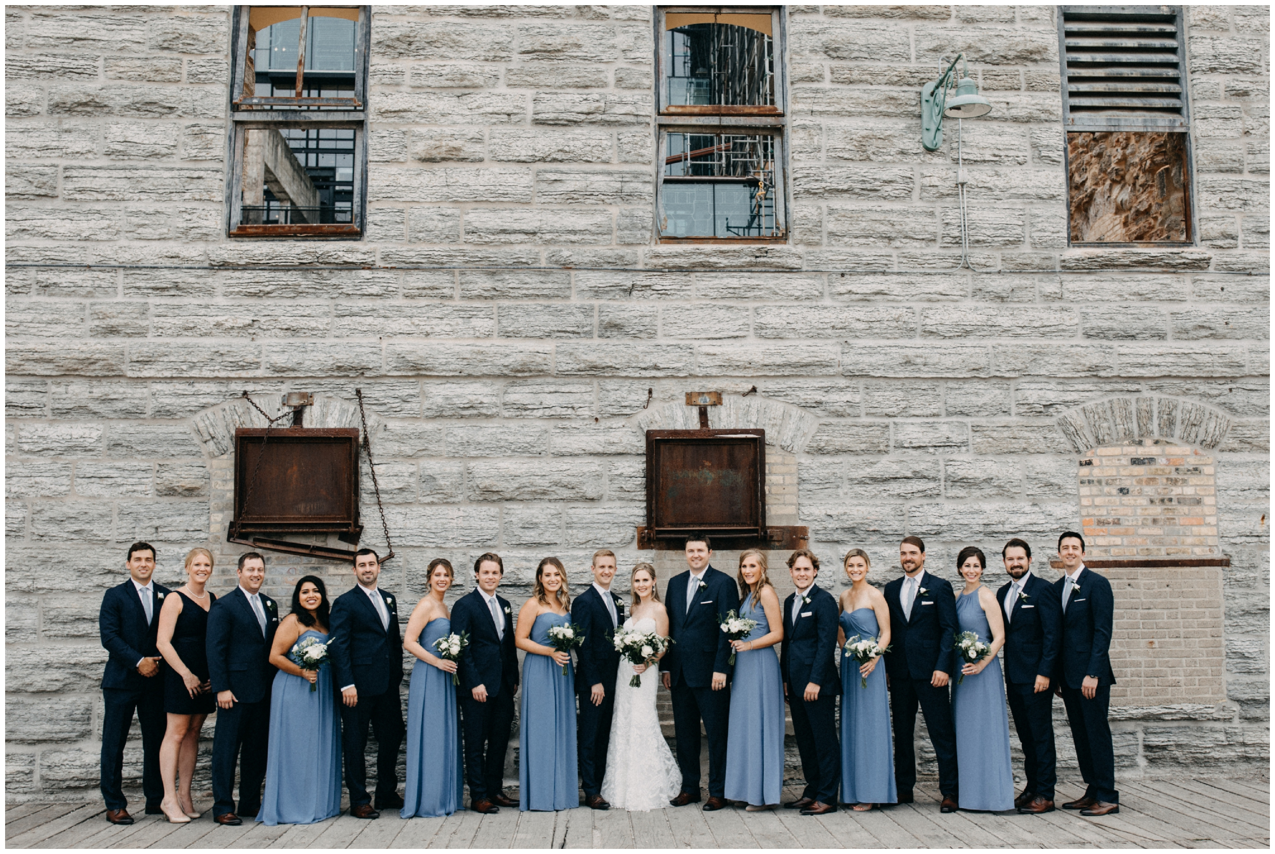 Wedding party at Mill City museum in Minneapolis