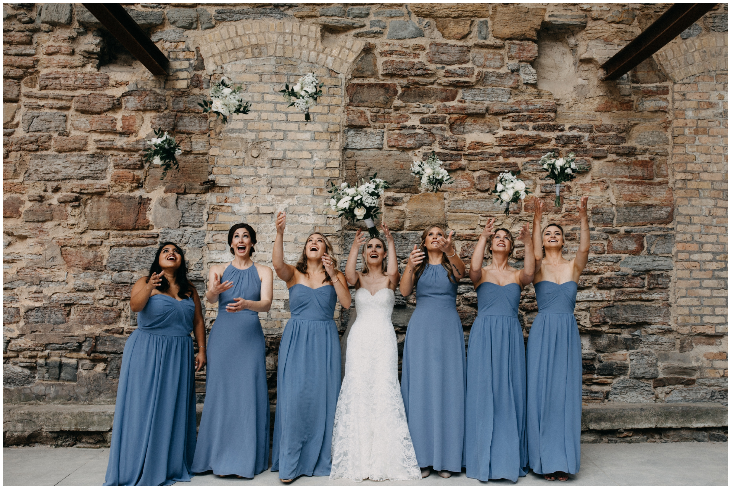 Bridal party at Mill City museum in Minneapolis Minnesota