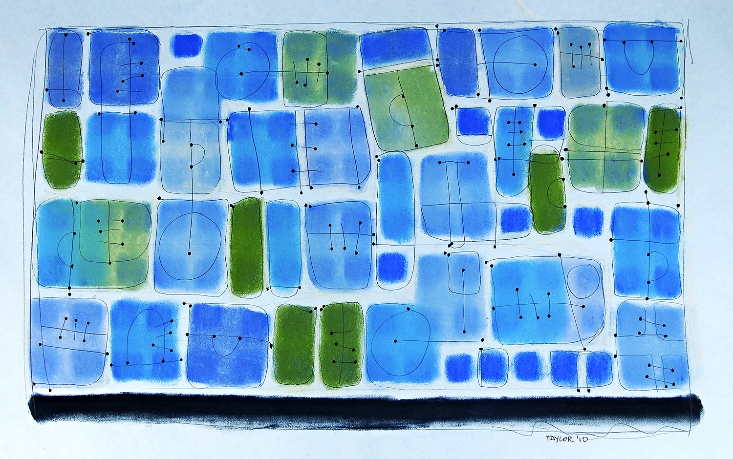 """blue  2010 Pastel with pencil and ink on paper.  26"""" x 37"""""""