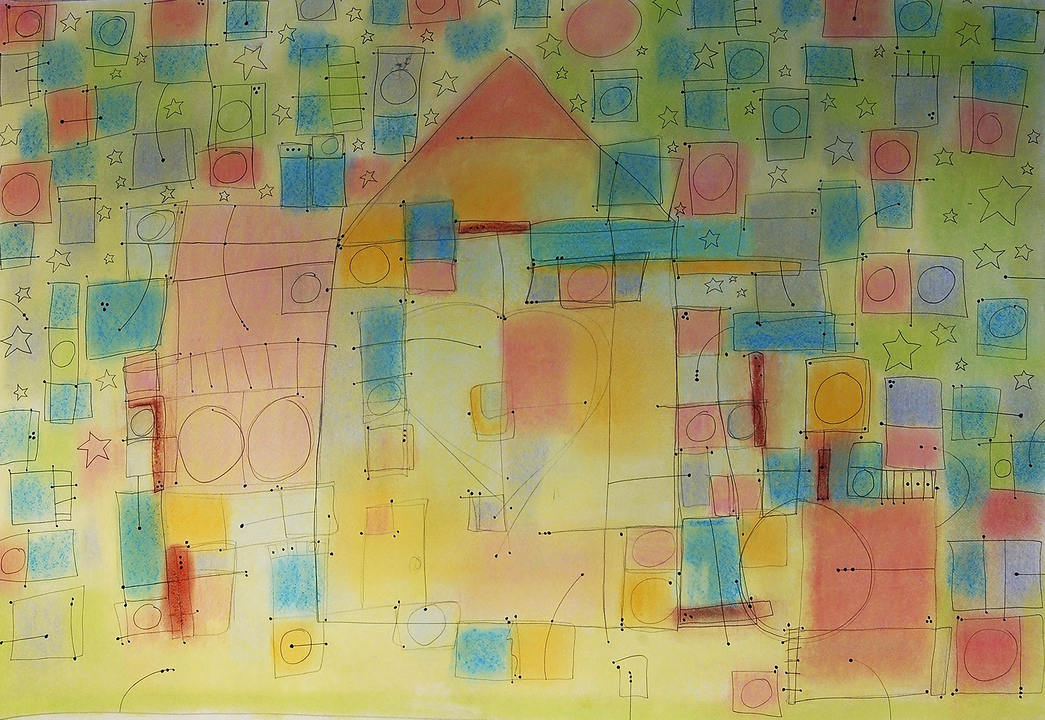 """village  2010 Pastel, pencil and ink on paper. 28¾"""" x 22¾"""""""