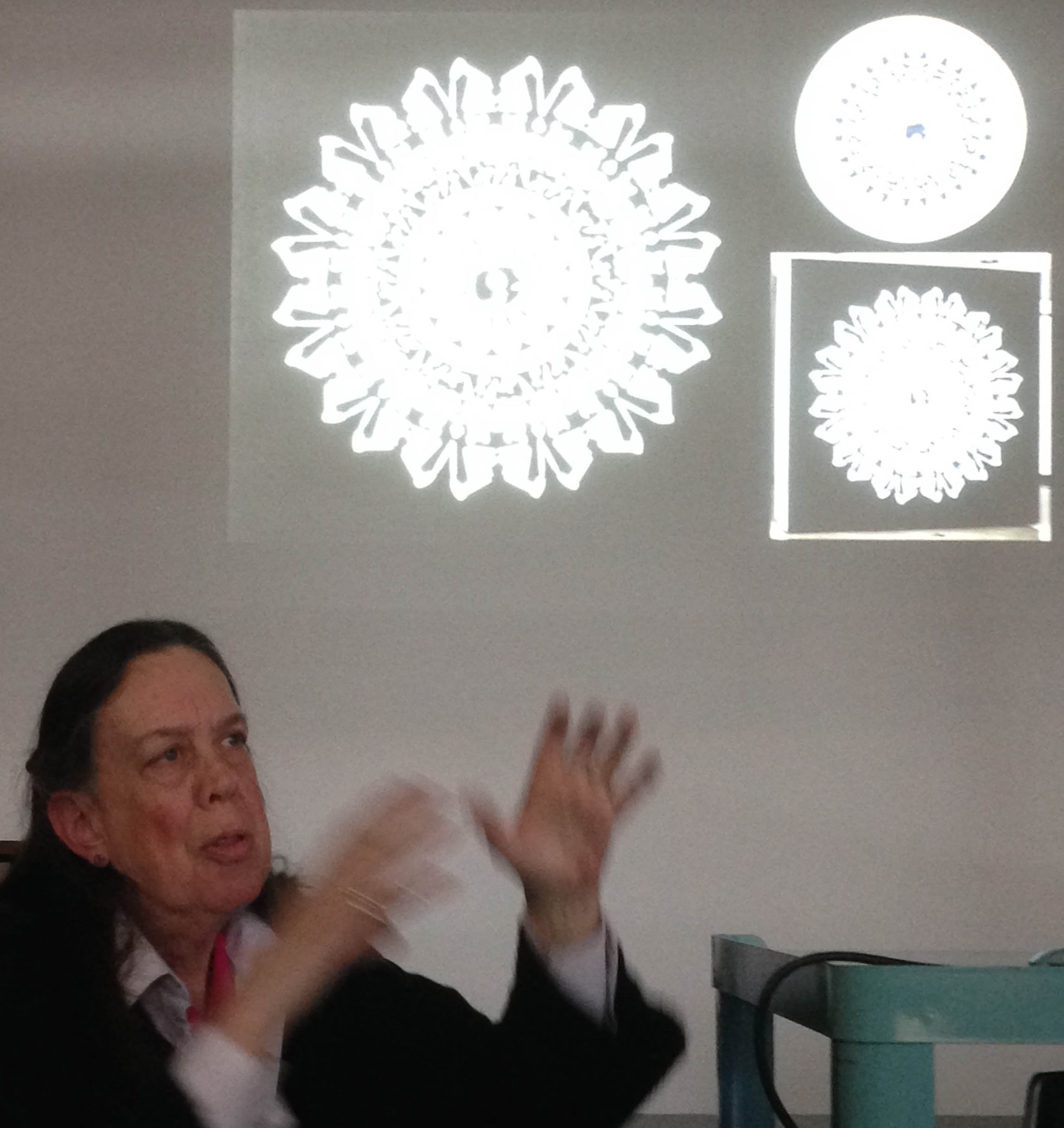 """Margi Weir discussing """"Antimacassar for the Gulf"""" and related works using vinyl cutouts"""