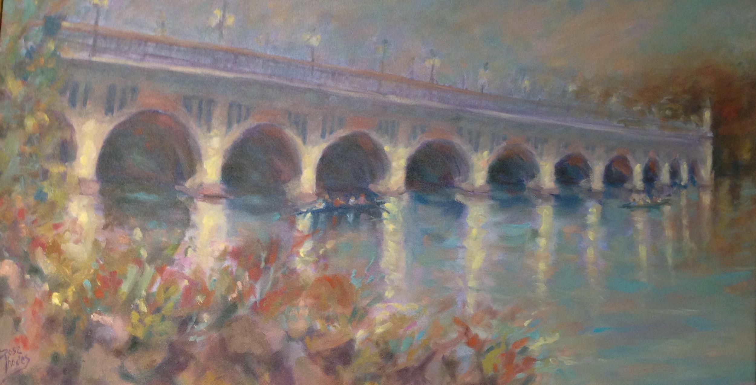 """Roselyn Rhodes, """"Belle Isle Bridge with Rowers"""""""