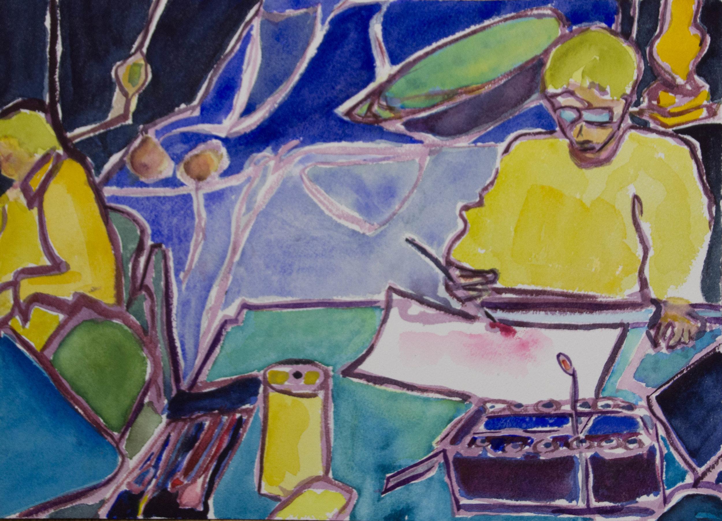 Artists in the Studio, watercolor