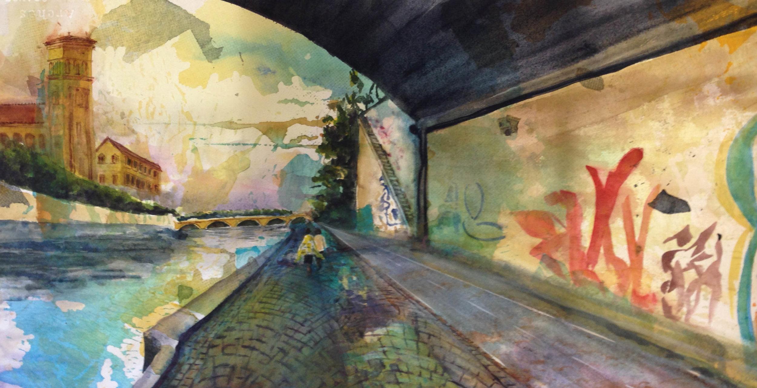 Eternal City, watercolor