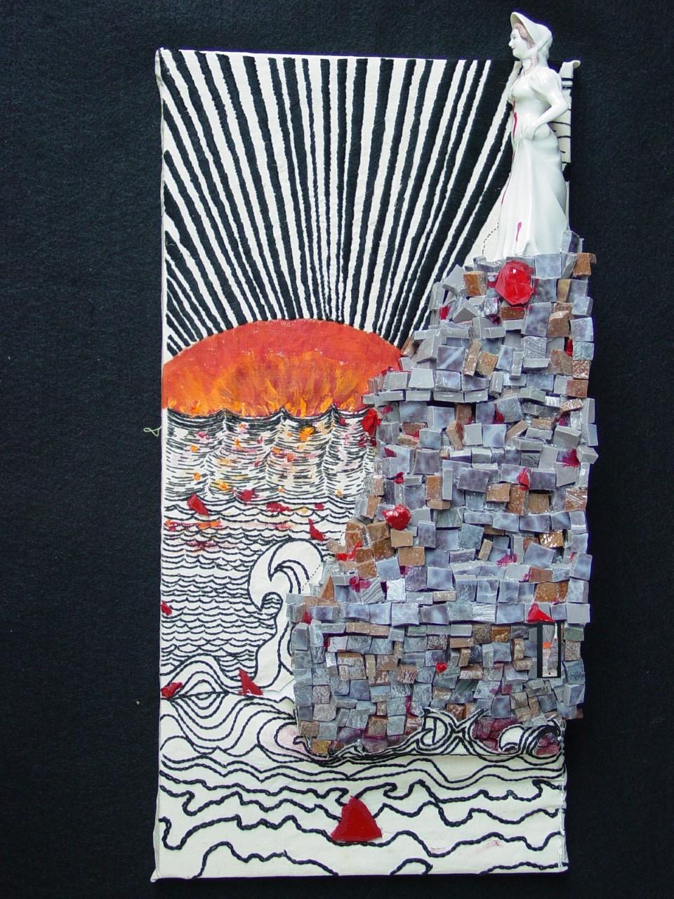 Heartbroken   Cotton, embroidery thread, smalti, acrylic, stained glass