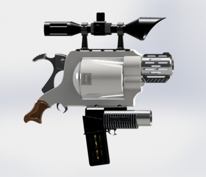 Rendering of G.O.D.. The grip is appropriately sized for a human hand, while the rest of the gun grows from this point to be kind of obnoxious. Also, it is technically a snub nose revolver, partly because those are cool looking and partly due to the irony of the juxtaposition with the massive scope.