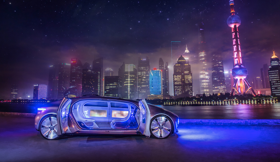 """Mercedes Benz's driverless prototype from 2015 has been described as like a """"living room"""" — as James Wallman predicted in 2008."""