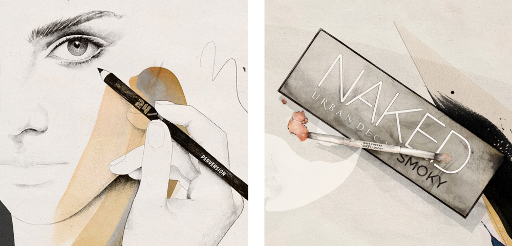 Illustration series for Urban Decay - Naked Smoky. Check out the illustrated Naked Smoky tips and tricks  here
