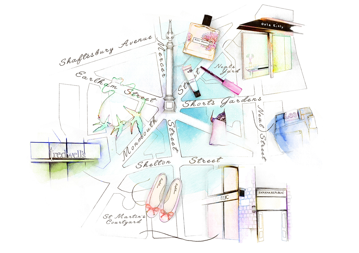 Illustrated map for ELLE UK, Covent Garden - Seven Dials advertorial