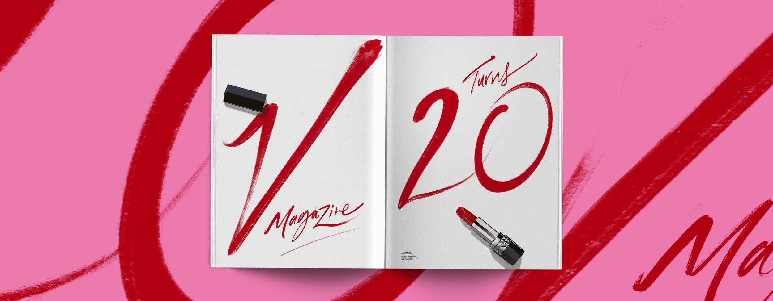 V MAGAZINE  -  DIOR, Lipstick Typography