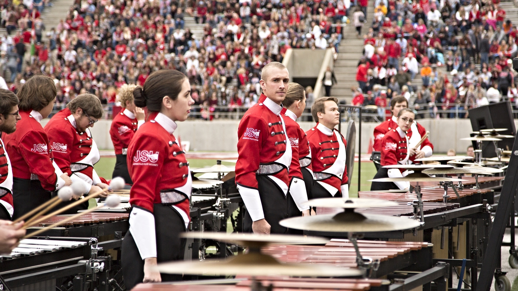 Danny Moore leading the Southerners Front Ensemble during the 2015 production.