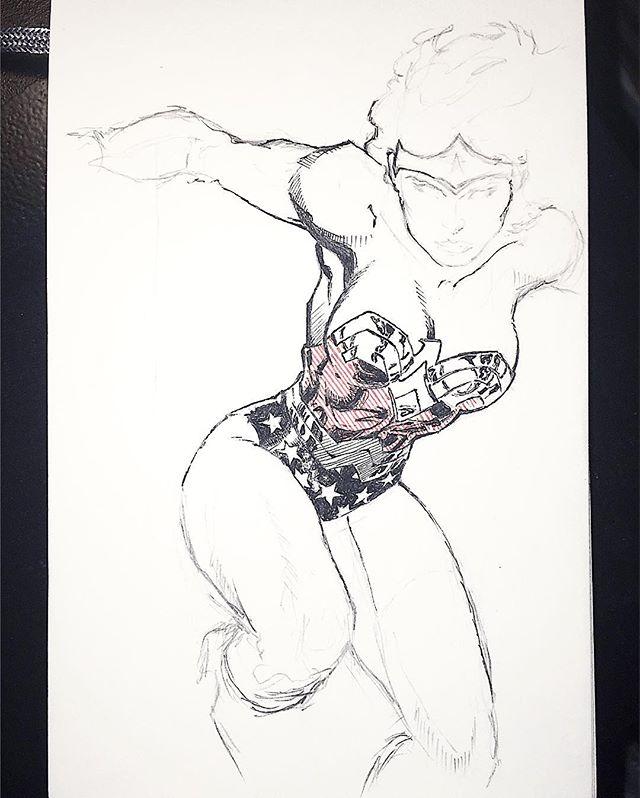 Wonder Woman yo. #comics #wonderwoman #galgadot #notreally #jimlee #sketch #fanart #whatever