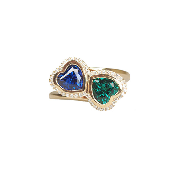 Emerald Sapphire Diamond Halo Engagement Ring