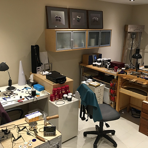 I have many surfaces to work on in the studio and each has its own use: goldsmithing, assembling, fabricating, stringing, enamelling and more.