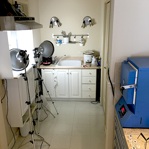 I  photograph all of my work in the studio. The enamelling kiln is on the right, and the clean up area is used all the way through the process.