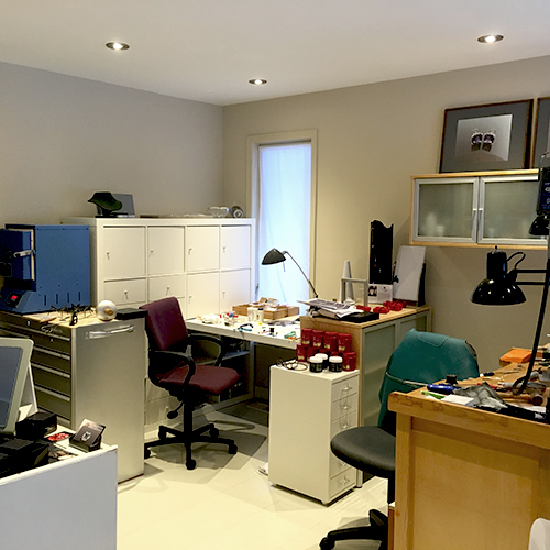 I have a white area for clean work. Notice even the floor is white in my studio. When I drop little gemstones or gold jump rings, they are easier to find on a plain white floor.