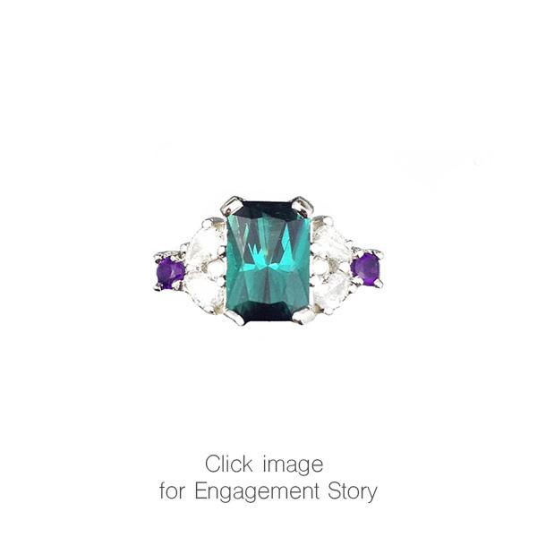 Tourmaline Diamond Engagement Ring