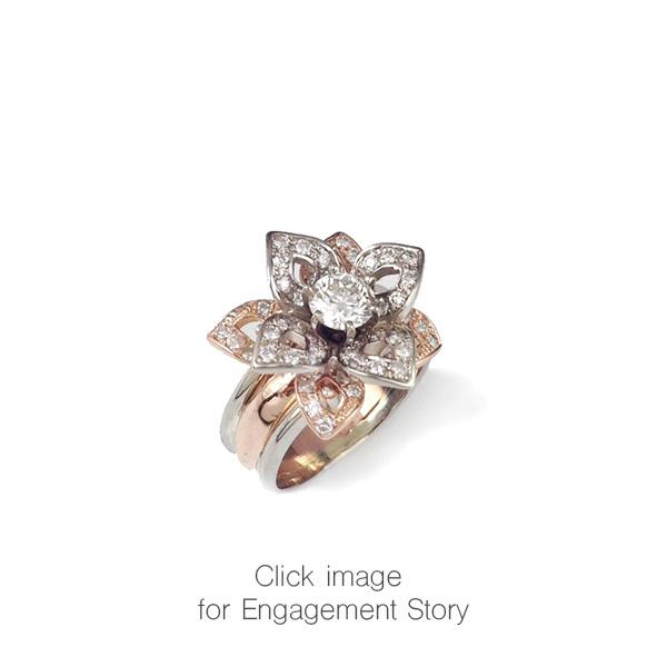 Rose Gold Lotus Diamond Engagement Ring