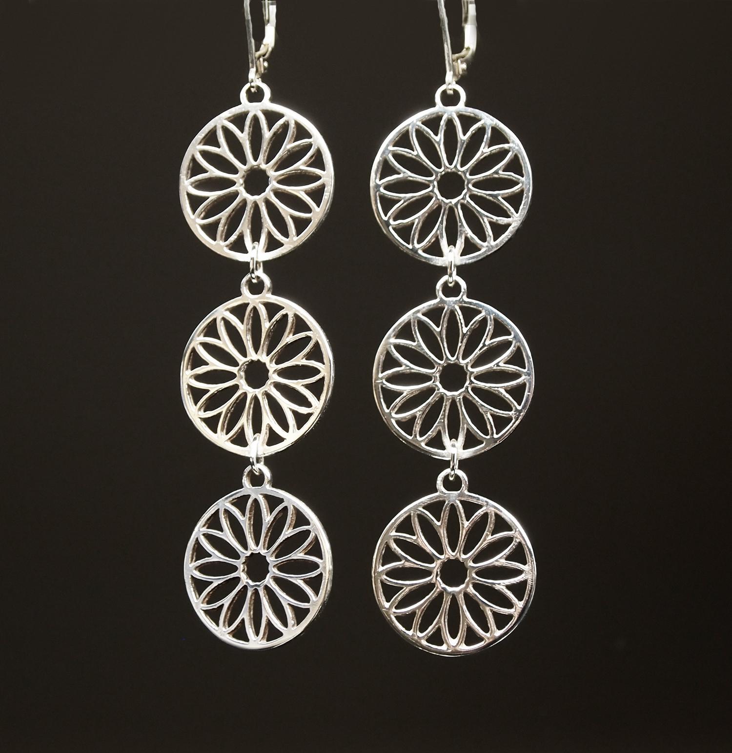 Sterling Sunflower Earrings