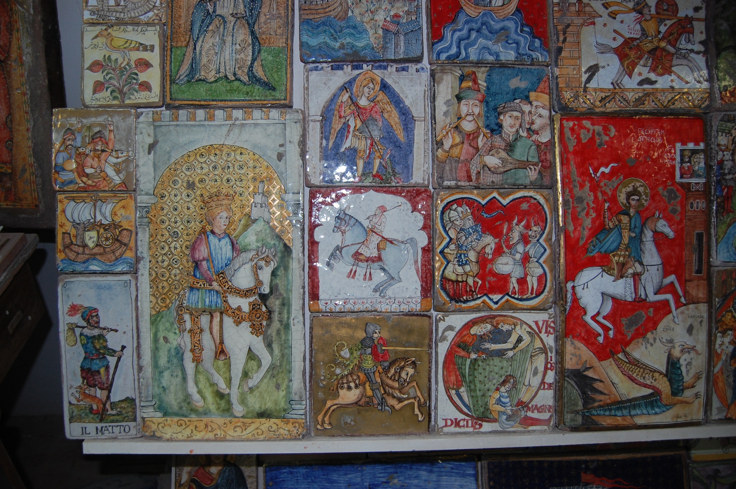 Some example tiles from the artist's studio
