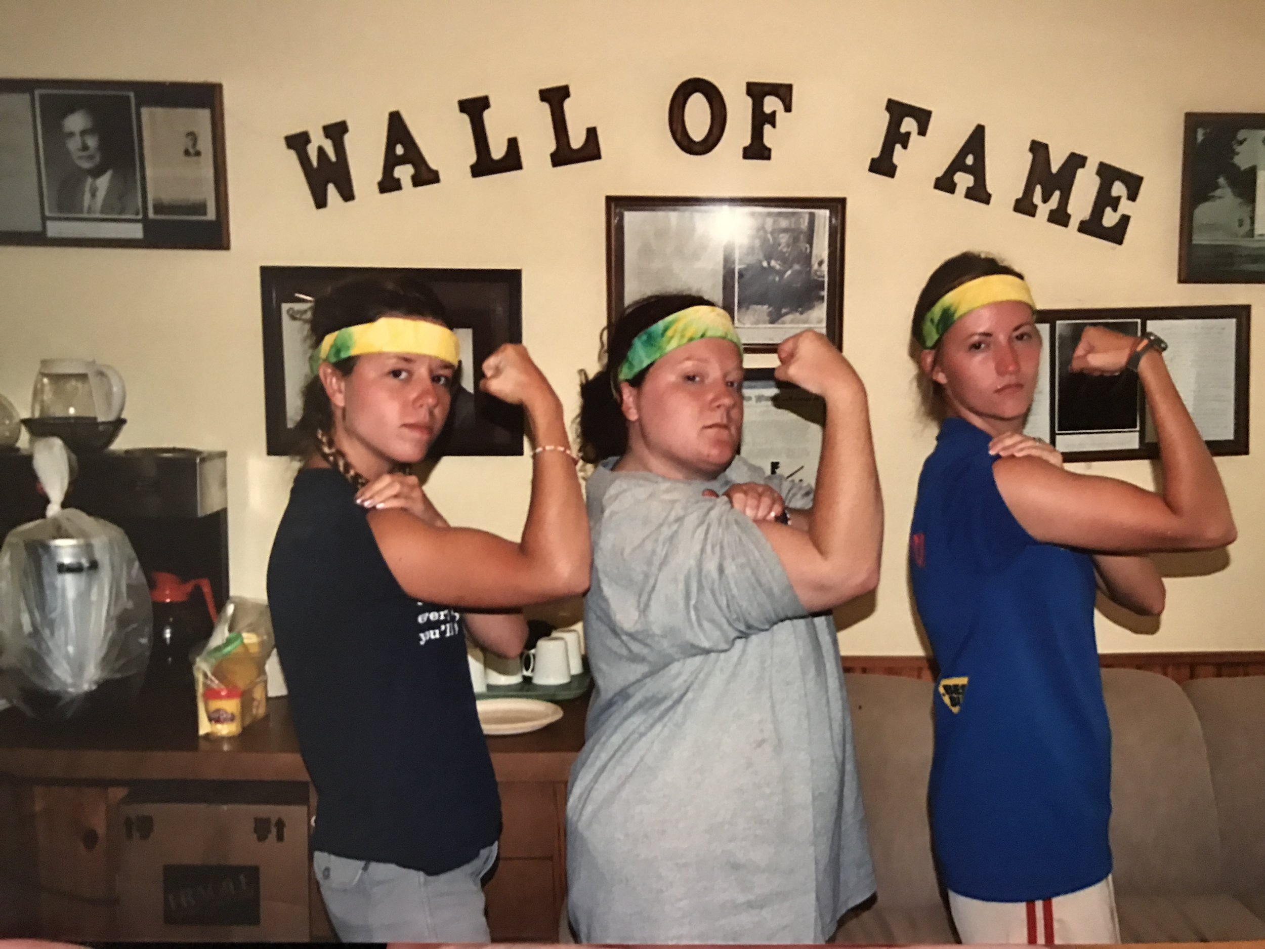 Sarah and fellow staff members, Jessica and jill, flex their muscles for the camera in jones lodge.