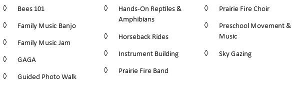 4:00 pm Music, Prairie & Art Classes