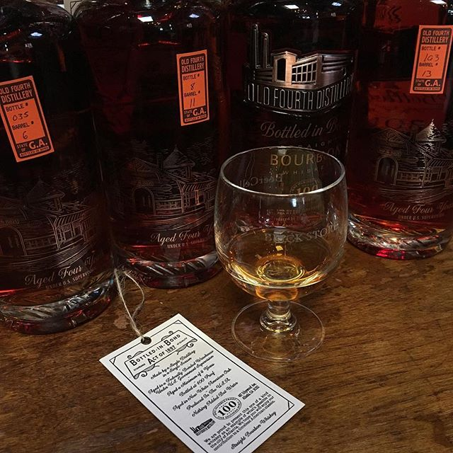 We are excited about @oldfourthdistillery's Bottled In Bond Whiskey from the heart of Atlanta! We have four bottles of this single barrel bourbon featuring four different barrels. Starting Friday, May 3rd, we are offering a flight of all four barrels. Try them side by side and see which barrel you like the best! 🥃#bottledinbond #atlantawhiskey #whiskey #bourbon #singlebarrel #whiskeyflight #o4w #weloveatl