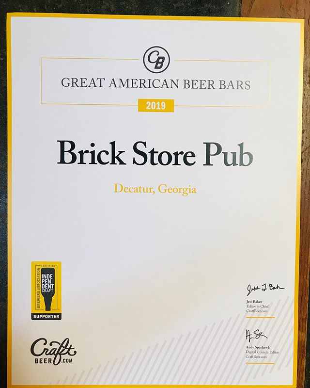 Proud day at the pub! Thank you to all of you and @craftbeerdotcom for naming us one of 2019's Great American Beer Bars. Cheers to that! 🍻✨ #craftbeer #drinklocal #drinkcraftbeer #beerbar #decaturga #beer #brickstorefam