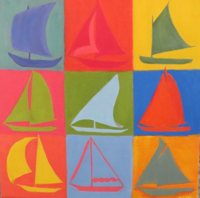 "Marcia Mundrick,  Sails ,                Acrylic on canvas ""20""x 20""  Price $200"