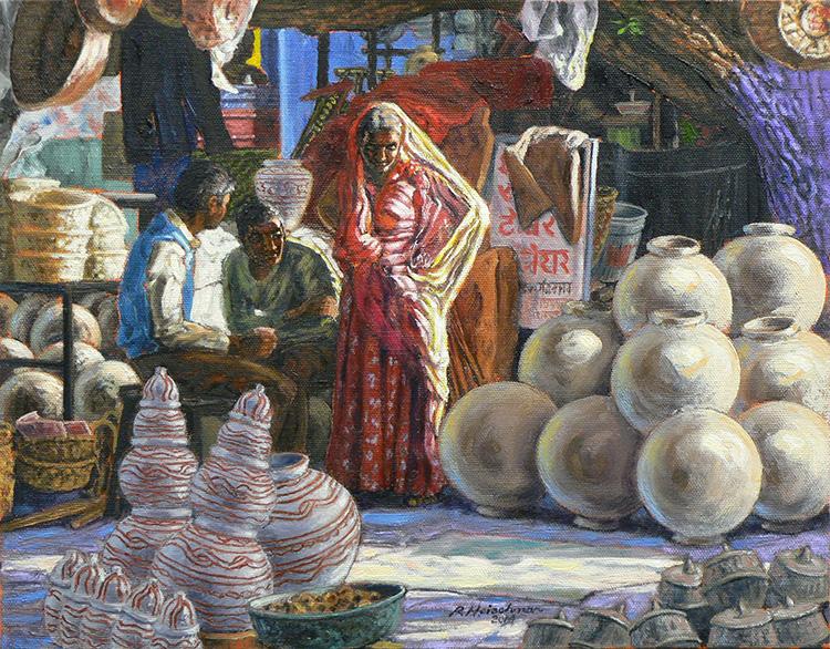"Robert Heischman,  Pot Stall  Oil on canvas, 11""x14'  Price $1000"
