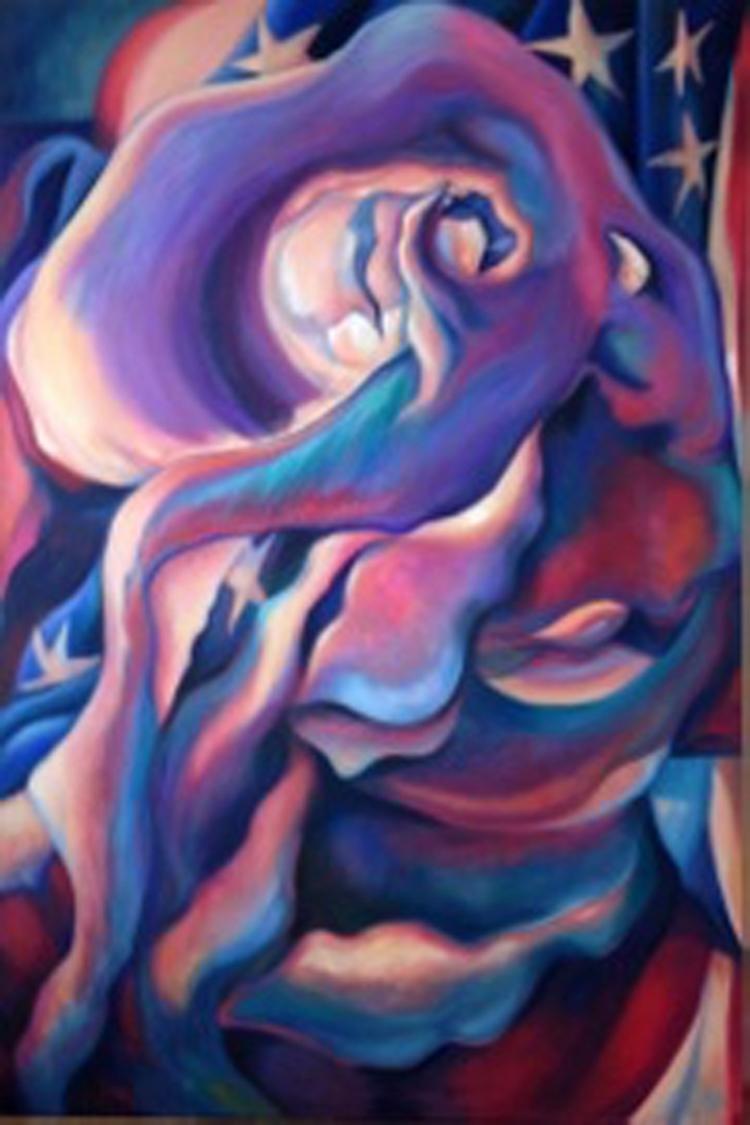 "Paula Crawford,  Glory, oil on canvas'48""x72"" Price $4000"