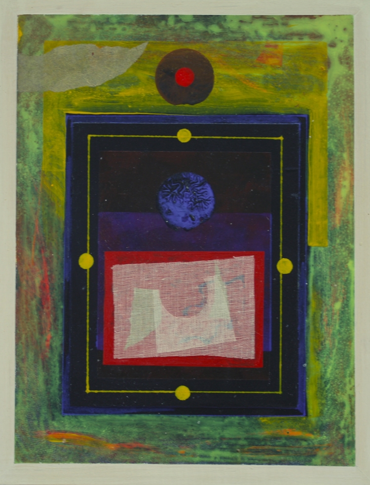 """Paul Garland,  In All , Acrylic on board collage, 17.5""""x13.5"""" $1000  Price"""