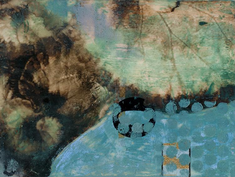 """Sidone Roepke,  Ornamental , Encaustic, Silk fabric7""""x 9"""" $200  ,"""