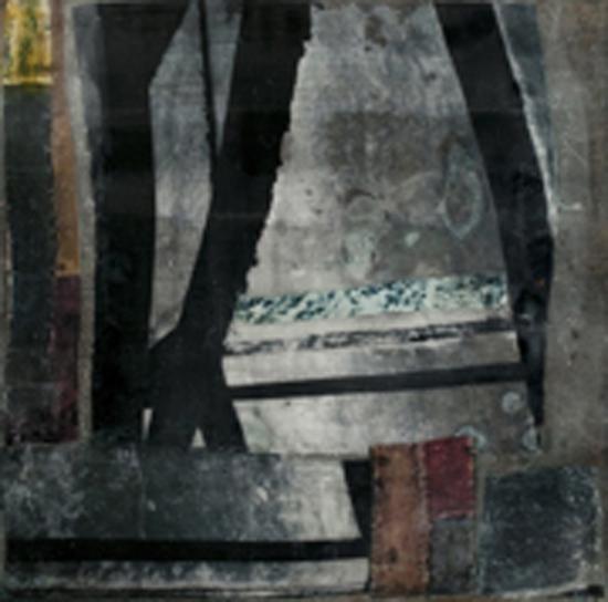 "Sidone Roepke,  Segmented , Encaustic, Silk Fabric, 22""x22"",$175"