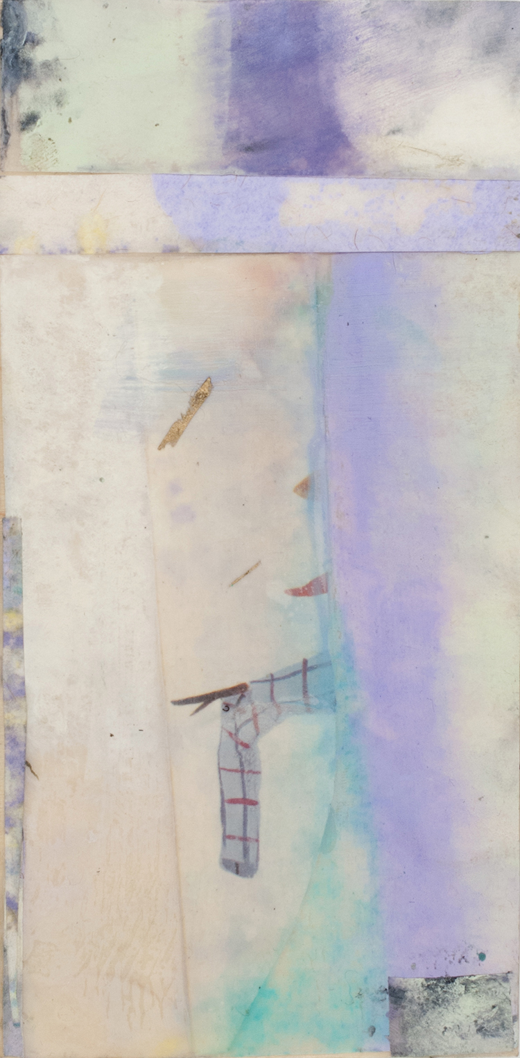 """Sidone Roepke,  Scarecrow ,Encaustic, various papers,9""""x 5""""$175"""