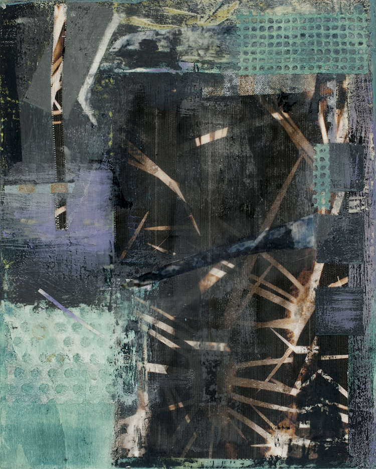 """Sidone Roepke,  Criss-cross, Encaustic,  various papers , cotton fabric 11""""x 9"""" $250"""