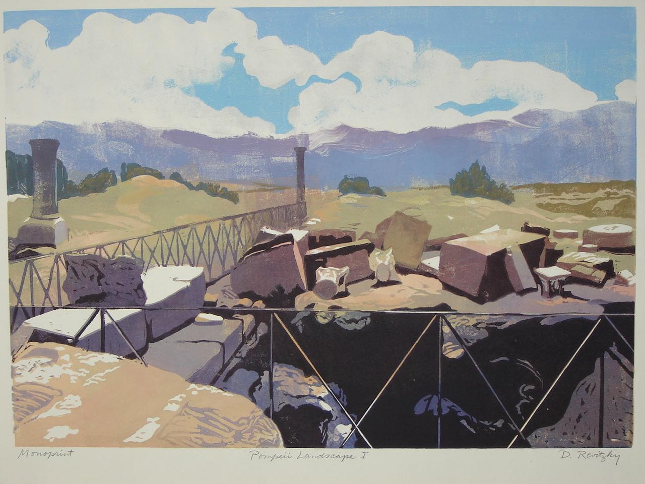"""Dennis Revitzsky,  """"Pompei Landscape I"""",  Linoleum Cut mono print ,   $500"""