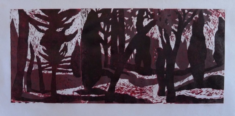 "Carol Acquilano, ""Moon in the Glade"" reduction woodcut, $425."