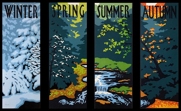 "Laura Wilder,   :Four Seasons"" signed ilmited edition block print"
