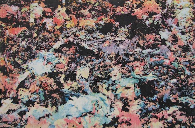 "Joseph Tarantelli, ""Particles I"", 3 color intaglio-type, $300."