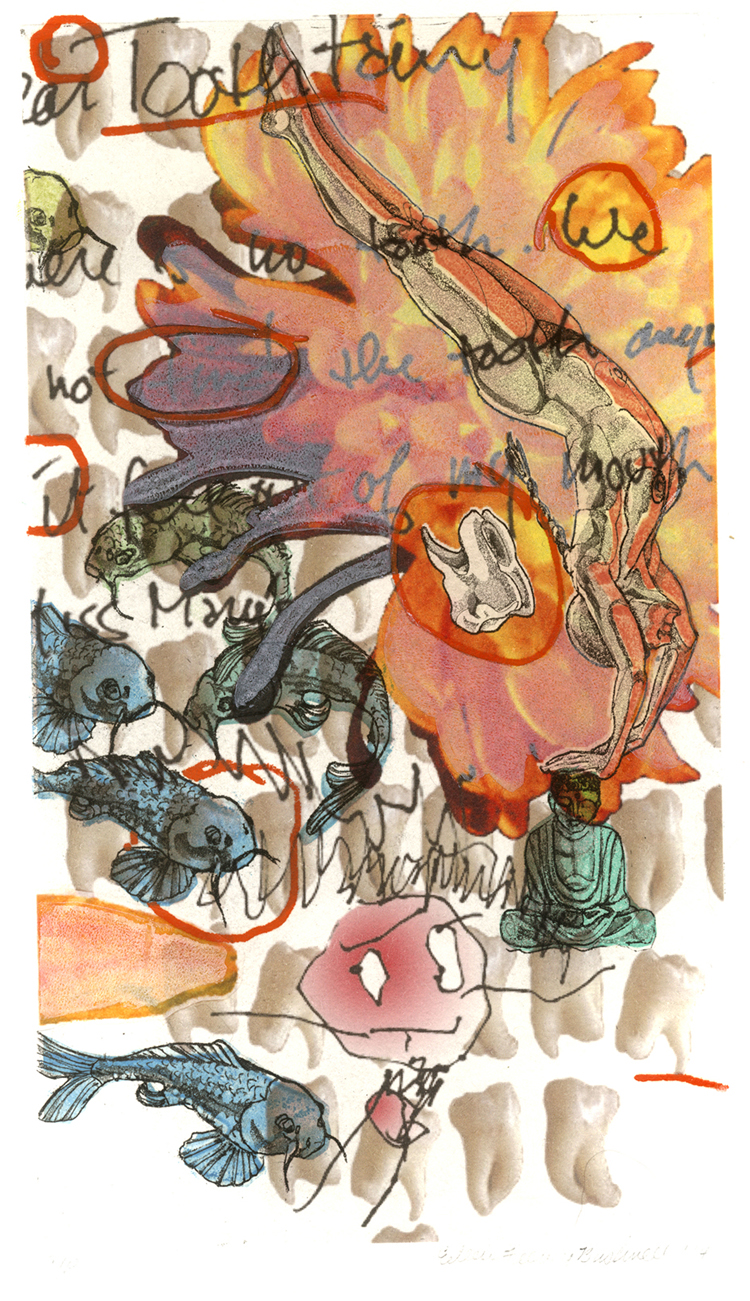 "Eileen Feeney Bushnell, ""Aiko and the Buddha"" mixed media print,$400."