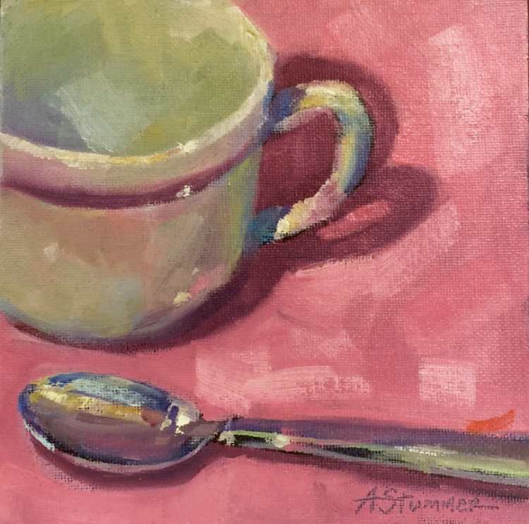 "Amy Stummer, ""Mug and Spoon""   Acrylic on board,  6"" x 6"", $65"
