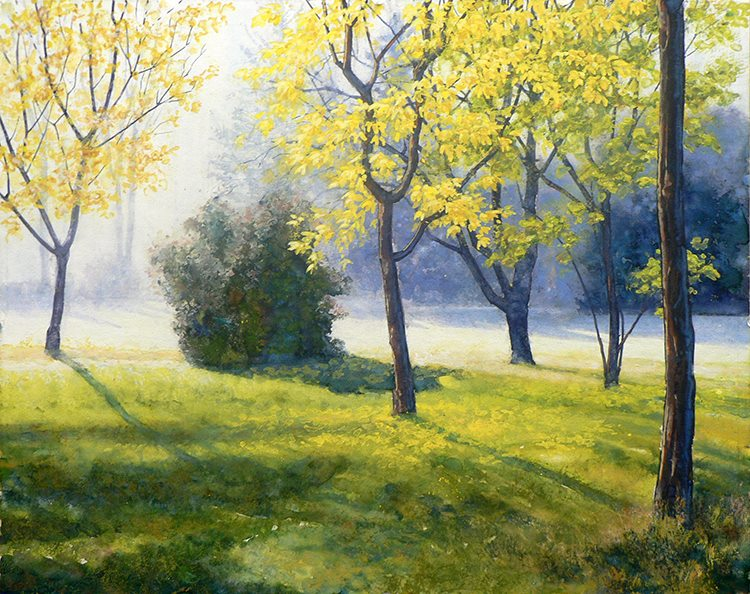 "Robert Heischman, Morning Light, Gouache, 16""x20"" $800"